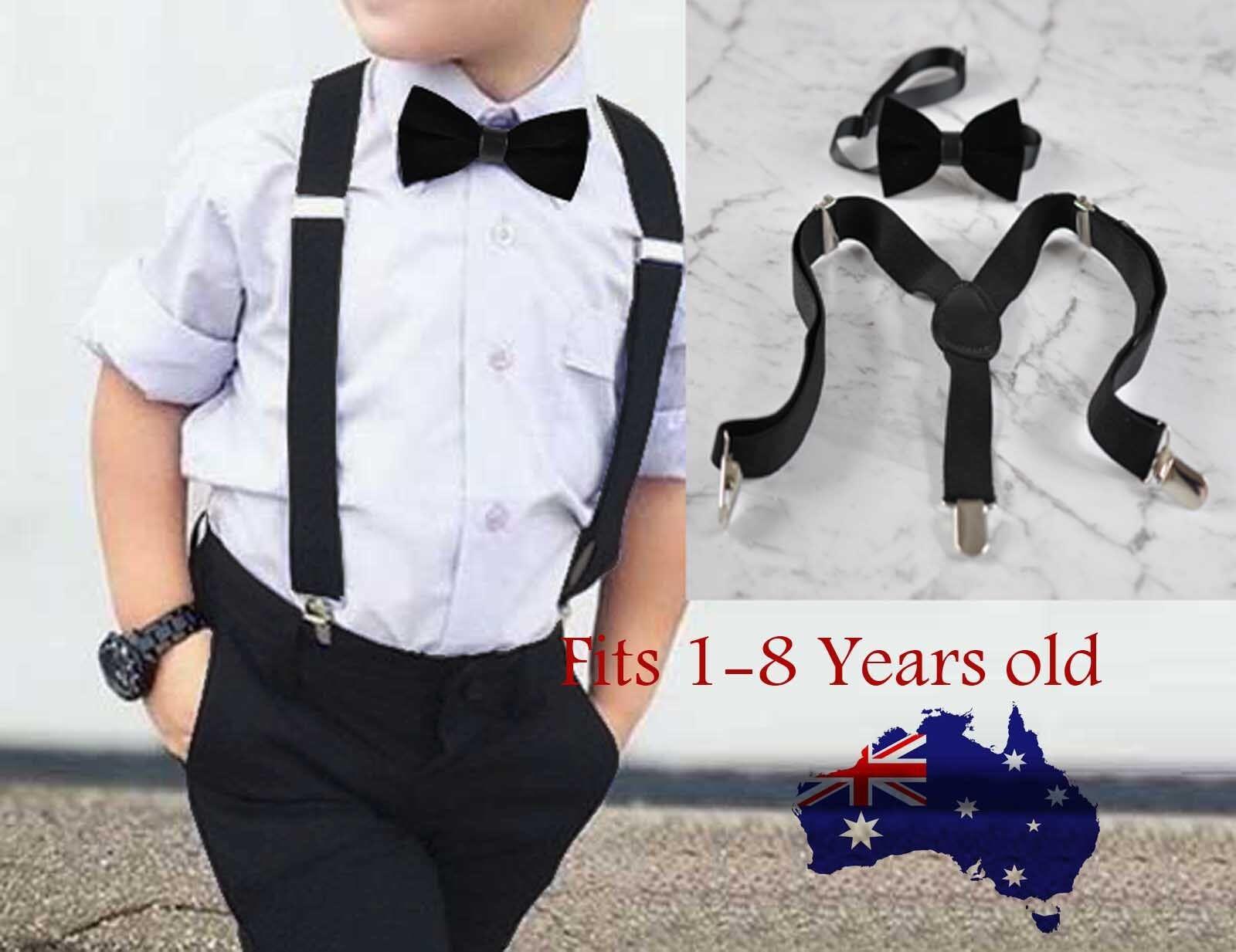 b24418b227e Boy Baby Kids Black Velvet Bow Tie Bowtie Adjustable Suspenders Braces Sets  1-8 Years Old