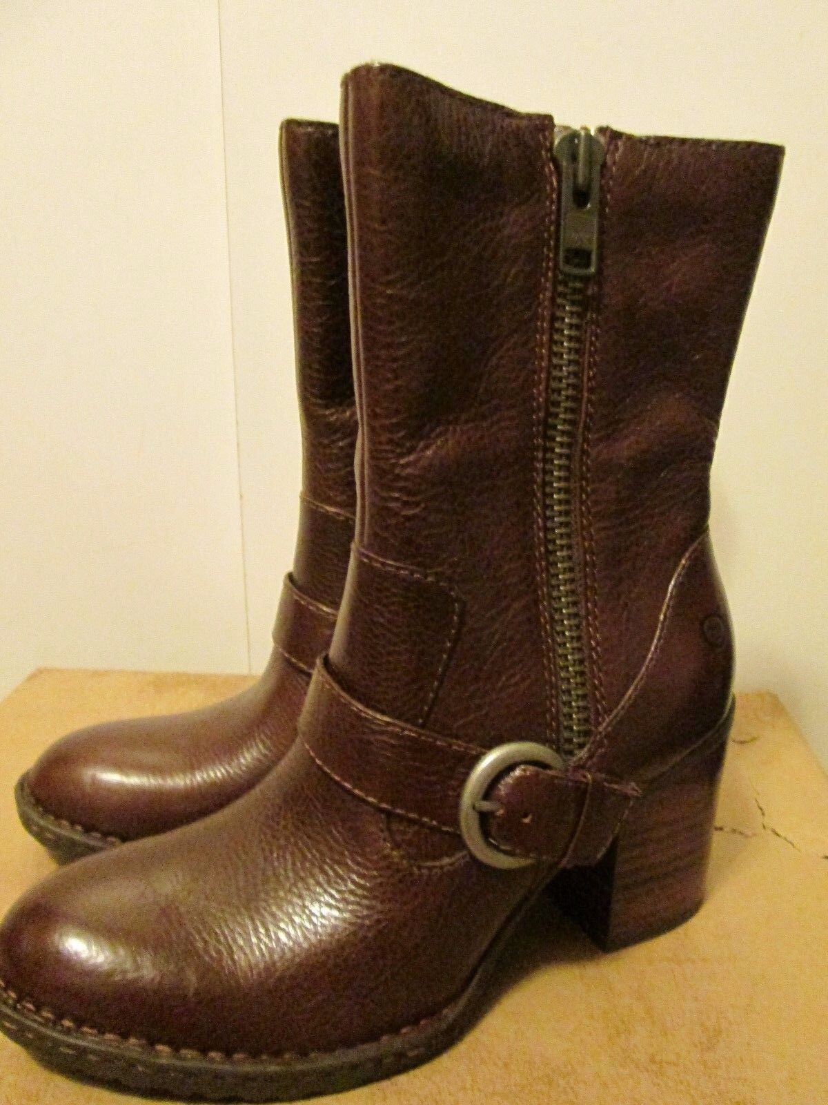 Born Camryn Cinnamon Brown Leather Shoes High 8 Heel Ankle Boots Size 8 High NWB dcbcbb