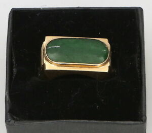 14k-Yellow-Gold-Oblong-Jade-Cabochon-Ring-5-7-Grams-Size-9-5