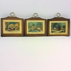 e47f81a54905 3 Vtg CURRIER   IVES Winter Wall Plaque Picture MANCHESTER WOOD ...