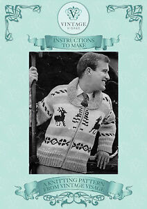Vintage Christmas Jumper Knitting Pattern : Vintage knitting pattern- mens christmas reindeer chunky jacket jumper cardig...