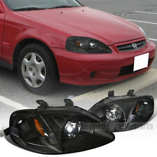 Retrofit Style For 1999-2000 Honda Civic Projector Headlights Black Head Lamps