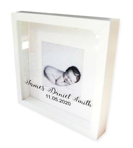 PERSONALISED WHITE PHOTO FRAME CHRISTENING GIFT MEMORY PHOTOGRAPH BABY GIRL BOY