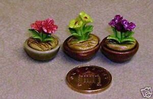 1-12-Scale-Variety-Of-3-Different-Ceramic-Flowers-In-Pots-Dolls-House-Miniature