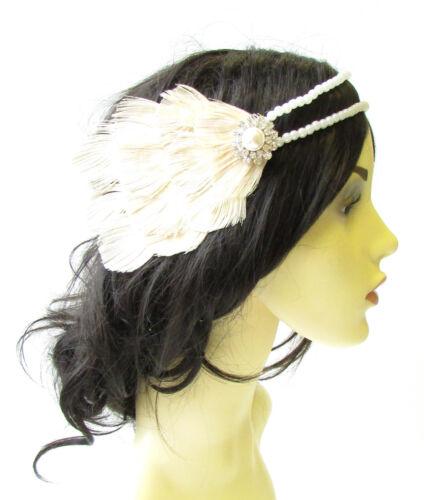 Cream Ivory White Peacock Pearl Feather Headpiece 1920s Headband Flapper 1625