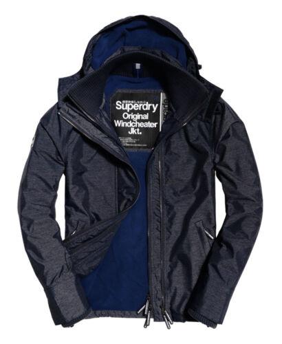 uomo con artica cappuccio Superdry Nuova Marl da Navy giacca Pop con cerniera Sd windcheater qz10zE
