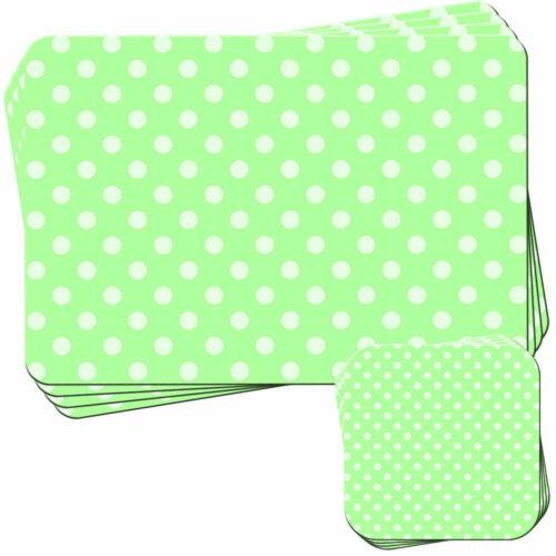 Pastel Vert pois Lot de 4 sets de table et Sous-verre