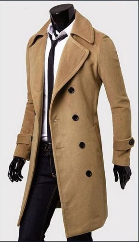 Formal Trench Coat Double Breasted Peacoat Overcoat Men Long Wool ...