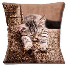 Cute Tabby Kitten Cat Cushion Cover 16x16 inch 40cm Photo Sleeping on Blanket