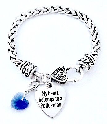 My Heart Belongs To A Policeman Police Officer Wife Silver Charm Bracelet Usa 733757392288 Ebay