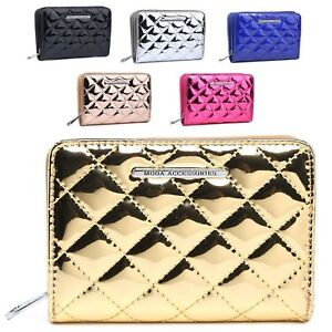 Ladies-Quilted-Mock-Patent-Leather-Bridal-Party-Purse-Wallet-Handbag-M1083-322