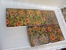 Vintage Ceramic Tiles Ornate Floral Design x5 Antique Old Damaged / Chipped