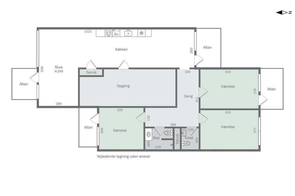Dejlig 4 værelses lejlighed i skønne grønne omg...