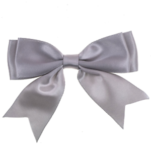 Silver-Grey-Large-25mm-Satin-Ribbon-Ready-Made-Craft-Double-Bows-Pack-of-5