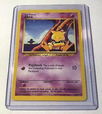 43//102 4x Abra Unlimited Edition Base Set Pokemon Near Mint Common