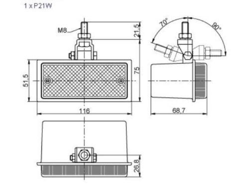 1 x RED REAR HALOGEN FOG TAIL LIGHT LAMP 12//24V TRUCK CAR TRAILER VAN E-MARKED