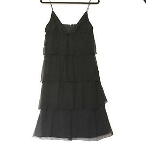 J-Crew-Women-039-s-Black-Silk-Waterfall-Flapper-Spaghetti-Strap-Sheer-Dress-Size-8