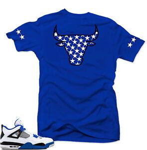 Shirt-to-match-Air-Jordan-Retro-4-Motorsport-sneakers-034-Bull-4-034-Royal-tee