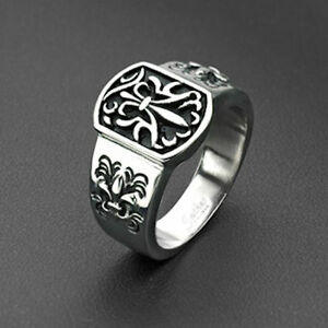 Shield Ring With Fleur De Lis