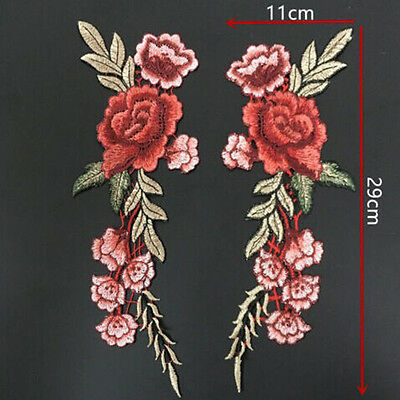 Sew On  Dress Applique Flower Red Rose Flower Embroidery Appliqué Patch Hat Jean