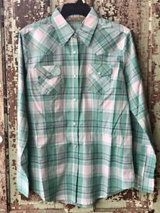 Wrangler-Women-039-s-Turquoise-amp-White-Plaid-Snap-Up-Western-Shirt-LW2041M