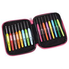 16pcs Multi Colour Crochet Hook Yarn Alu Knitting Needles Set Kit Tool Case T