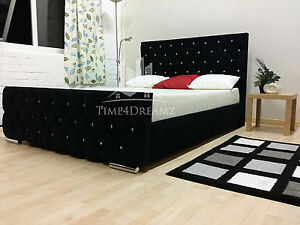Florida Diamond Black Fabric Upholstered Bed Frame 3ft 46 Double