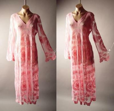 Pink Embroidered Sheer Gown Victorian Vtg-y 20s 30s Maxi 268 mv Lace Dress S M L