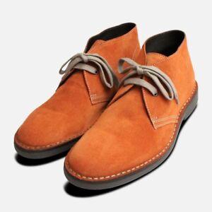 Dettagli su Arancione Bruciato in Pelle Scamosciata Italiana da Uomo Desert Boots mostra il titolo originale