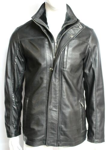 Zip Leather Jacket Black Premium Fitted Designer Men's Classic Harvey Detachable f61z8qY