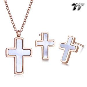 TT 9K Rose Gold S.steel White Mother Pearl Cross Earrings 2018 NEW EC114A