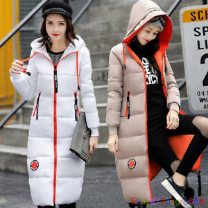 Winter-Women-039-s-Knee-Long-Down-Cotton-Parka-Hooded-Coat-Quilted-Jacket-Outwear-UK