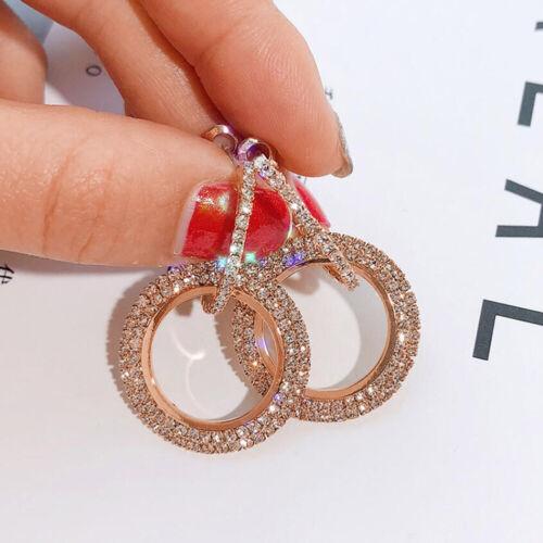 Full Crystal Women 925 Silver Round Hoop Earrings Silver Rose Gold Jewellery UK