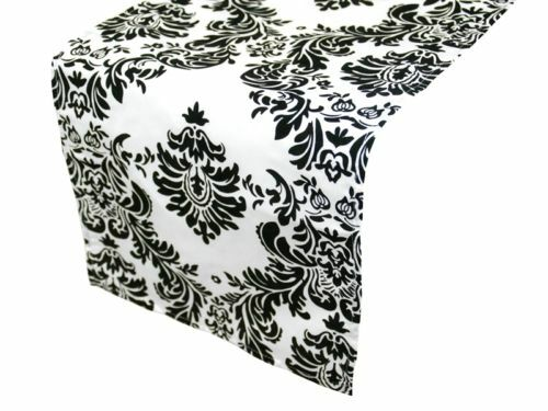 40 Damas Chemins de table 12 x108  3D Noir Blanc flocage floqué made in USA