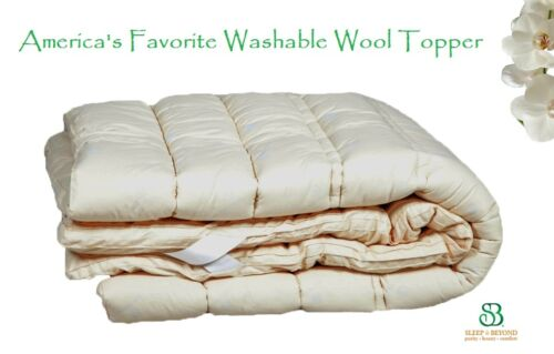 "1.5"" Premium Shropshire Wool Filled Washable Mattress PadTopper Hypoallergenic"