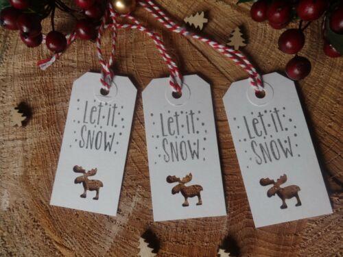 vintage bagages Type 20 Blanc Cadeau De Noël Étiquettes Let it Snow Moose ajourées