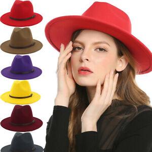 Ladies-Fedora-Hats-Men-039-s-Jazz-Woolen-Felt-Hats-Wide-Brim-Caps-Photograph-Street