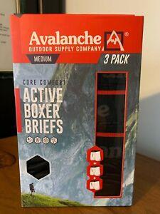 AVALANCHE Men's 3 Pack-Core Comfort-Mesh Fly ACTIVE BOXER BRIEFS-Size M (32-34)