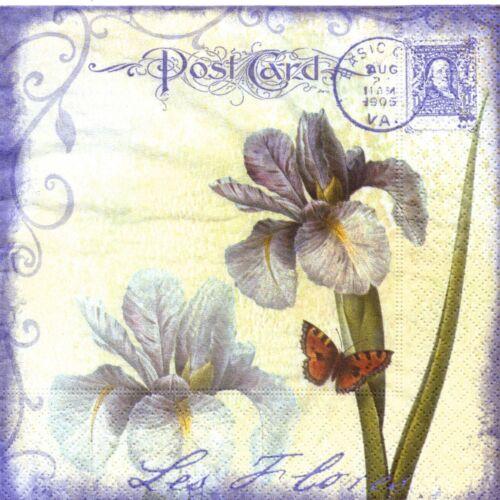 3 PAPER NAPKINS IRIS FLOWERS CARD 3 SERVIETTES EN PAPIER IRIS FLEURS EN CARTE