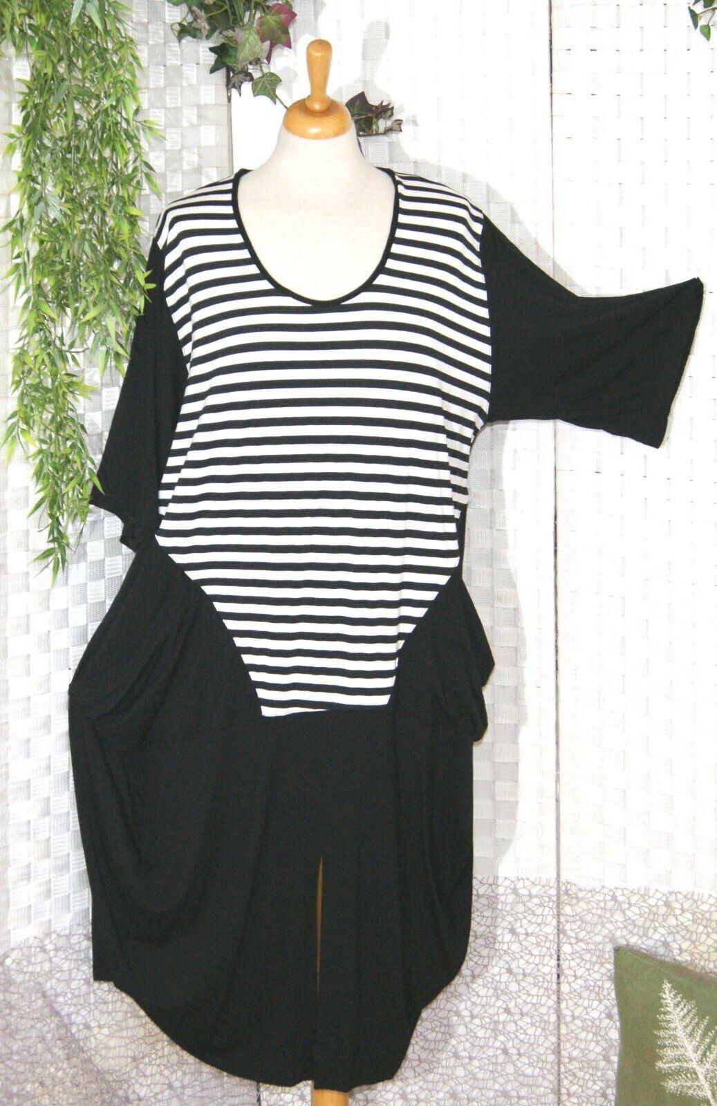 ENTREE Berlin Shirt Kleid schwarz weiß STREIFEN Ballon 44 46 48 Stretch E.N.T