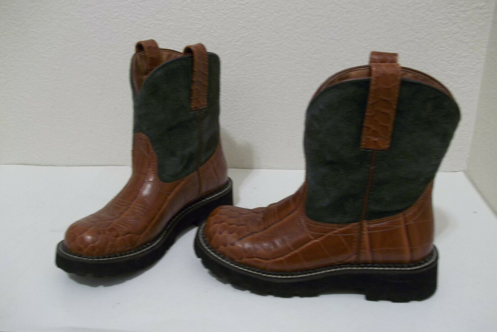 ca9865e664c Girls Ariat Fatbaby Gator Print Brown Leather Western Cowboy BOOTS Sz 6  Youth