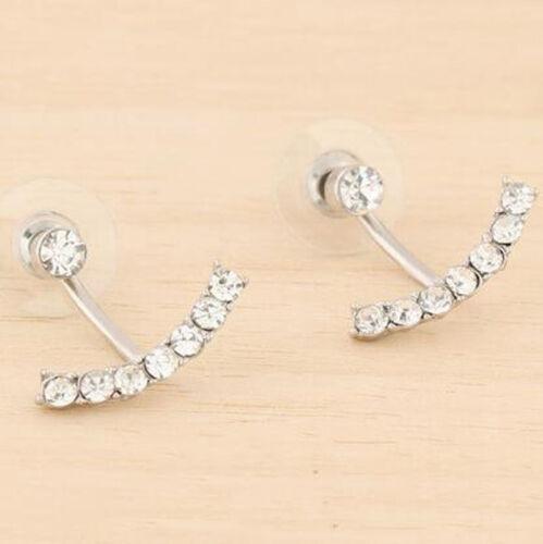 1Pair Fashion Women Girls Crystal Silver Gold Plated Ear Stud Earrings Jewelry