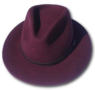 Alta Qualità Borgogna Tesa Larga 100% Lana Feltro Fedora Cappello Borsalino-medium-mostra Il Titolo Originale Caldo E Antivento