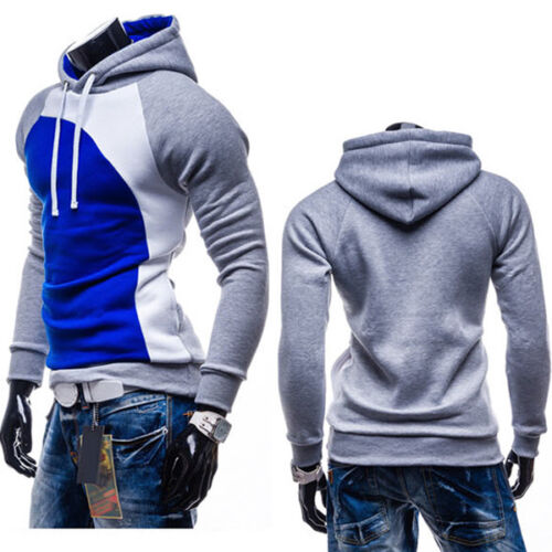Mens Winter Athletic Gym Muscle Hoodie T-shirt Tops Hooded Color Block Pullover