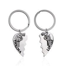 V.G 1Pair Silver 3D Thelma Louise Gun Heart Key Ring Chain Couple KeyChain Gift