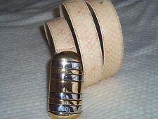 Vintage Christian Dior Beige Genuine Snakeskin Belt Gold Silver Buckle size SM