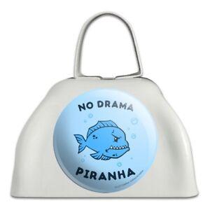 Aucun Drame Piranha Poisson Drôle Humour En Métal Blanc Sonnaille Vache Bell Instrument-afficher Le Titre D'origine