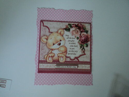 PK 2 BEAR WITH ROSES /& VERSE MOTHERS DAY EMBELLISHMENT TOPPERS FOR CARDS
