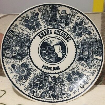 """Plates & Chargers Frugal Vintage Amana Colonies Iowa Ia Souvenir Plate 10"""" Collectors Pure Whiteness"""