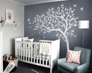 Details zu Groß Baum Wandtattoo Weiß Wandsticker Spielzimmer Kinderzimmer  Geschenkidee KW32